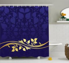 Lacivert Krem Çiçek Desenli Duş Perdesi Şık Tasarım