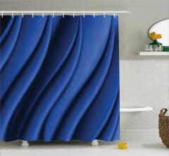 Dekoratif Dalga Desenli Duş Perdesi Şık Lacivert