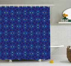 Şık Lacivert ve Mavi Desenli Duş Perdesi Geometrik
