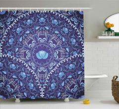 Mavi Çiçekli Lacivert Desenli Duş Perdesi Çeyizlik