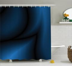 Lacivert Siyah Desenli Duş Perdesi Girdap Efektli