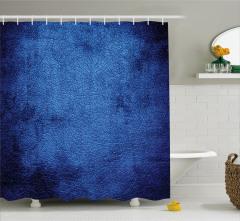 Trend Lacivert Desenli Duş Perdesi Deri Görünümlü