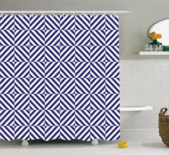Lacivert Beyaz Desenli Duş Perdesi Diyagonal Şeritli
