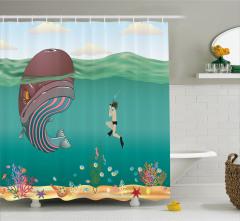 Balina ve Dalgıç Desenli Duş Perdesi Çocuklar İçin
