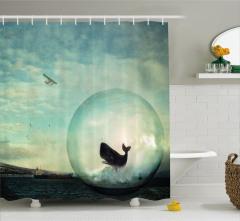 Küredeki Balina ve Uçak Desenli Duş Perdesi Şık Mavi
