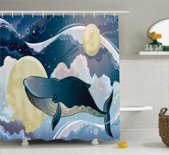Balina ve Uzay Desenli Duş Perdesi Lacivert ve Krem