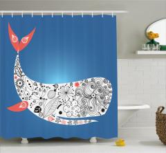 Kırmızı Yüzgeçli Balina Desenli Duş Perdesi Mavi Fon
