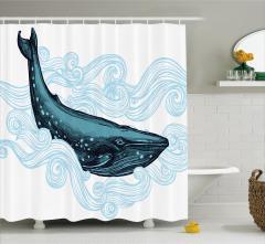 Balina ve Mavi Dalga Desenli Duş Perdesi Beyaz Fon
