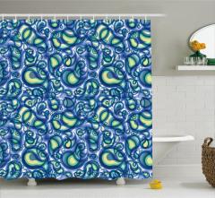 Damla Formlu Mavi Desenli Duş Perdesi Şık Tasarım