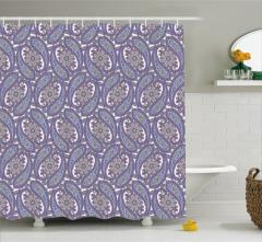 Çeyizlik Çiçekli Şal Desenli Duş Perdesi Mor ve Mavi