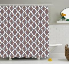 Şal Desenli Duş Perdesi Kahverengi Mor Şık Tasarım
