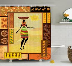 Afrikalı Kız Temalı Duş Perdesi Sarı Kahverengi Şık