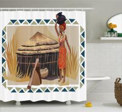 Etnik Temalı Duş Perdesi Afrikalı Kadın Egzotik Bej