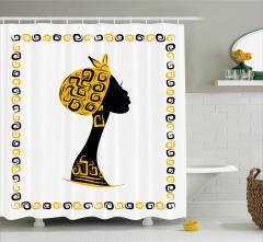 Afrikalı Kadın Temalı Duş Perdesi Sarı Siyah Şık