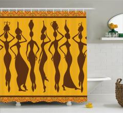 Kadın Silüetleri Temalı Duş Perdesi Sarı Kahverengi
