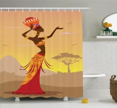 Afrikalı Kız Temalı Duş Perdesi Turuncu Etnik Kuş