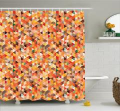 Üçgen Desenli Duş Perdesi Geometrik Turuncu Şık