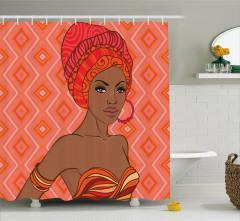 Afrikalı Kadın Portreli Duş Perdesi Etnik Trend