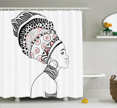 Afrikalı Kadın Portreli Duş Perdesi Siyah Beyaz