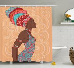 Afrikalı Kadın Temalı Duş Perdesi Kahverengi Şık