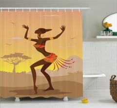 Afrikalı Dansçı Kız Temalı Duş Perdesi Kahverengi