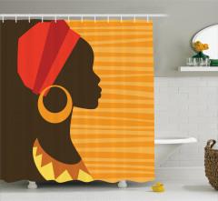 Küpeli Kız Portreli Duş Perdesi Afrika Turuncu Şık