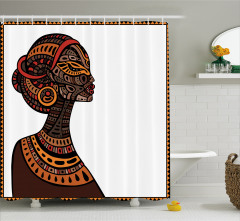 Etnik Temalı Duş Perdesi Afrikalı Kız Kahverengi