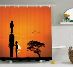 Afrikalı Kadın ve Çocuk Temalı Duş Perdesi Turuncu