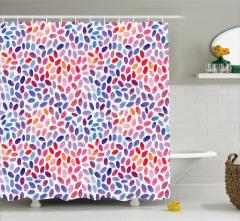 Rengarenk Yaprak Desenli Duş Perdesi Sulu Boya Şık