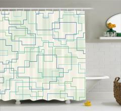 Geometrik Desenli Duş Perdesi Yeşil Mavi Beyaz Şık