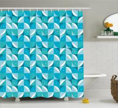 Geometrik Desenli Duş Perdesi Mavi Beyaz Şık Tasarım