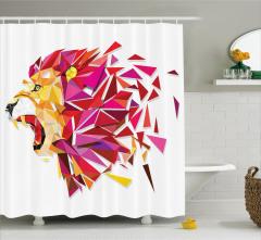 Aslan Portreli Duş Perdesi Geometrik Kırmızı Şık