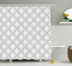 Duvar Kağıdı Desenli Duş Perdesi Geometrik Gri Şık