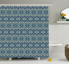 Geometrik Desenli Duş Perdesi Mavi Sarı Şık Tasarım