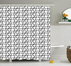 Siyah Beyaz Duş Perdesi Geometrik Desenli Trend