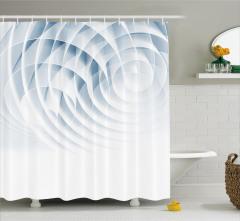 3D Etkili Duş Perdesi Geometrik Desenli Mavi Beyaz