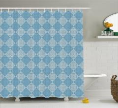Dekoratif Duş Perdesi Mavi Beyaz Kare Şık Tasarım