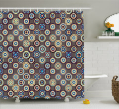 Puantiye Desenli Duş Perdesi Kahverengi Şık Tasarım