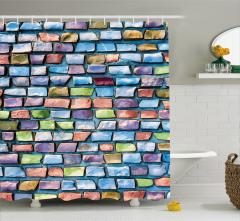 Mozaik Etkili Duş Perdesi Mavi Şık Tasarım Kiremit
