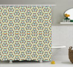 Dekoratif Duş Perdesi Geometrik Desenli Sarı Şık