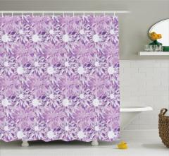 Mor Çiçek Desenli Duş Perdesi Trend Şık Tasarım