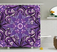 Mor Çiçek Desenli Duş Perdesi Mandala Temalı Şık