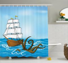 Kraken ve Yelkenli Temalı Duş Perdesi Mavi Mitoloji