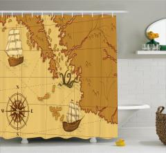 Nostaljik Harita ve Pusula Temalı Duş Perdesi Şık