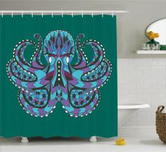 Ahtapot Desenli Duş Perdesi Yeşil Şık Tasarım Trend