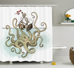 Mitoloji Temalı Duş Perdesi Gemi Kraken Bej Trend