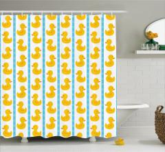 Çocuk İçin Duş Perdesi Lastik Ördek Desenli Sarı
