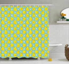 Ördek Desenli Duş Perdesi Sarı Mavi Çocuklar İçin