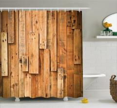 Ahşap Duvar Temalı Duş Perdesi Kahverengi Dekoratif