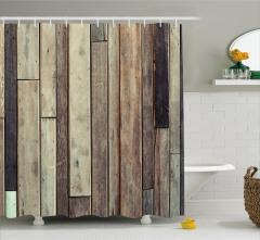 Ahşap Duvar Temalı Duş Perdesi Kahverengi Trend